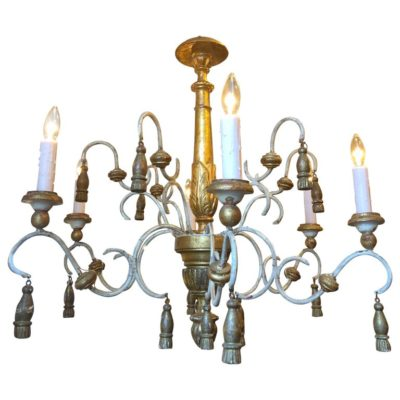 Italian Iron and Wood Chandelier