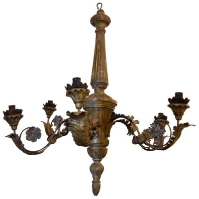 Italian, Tuscan Wood and Iron Chandelier