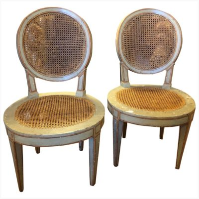 Pair of Louis XVI Style Oval Back Painted Chairs