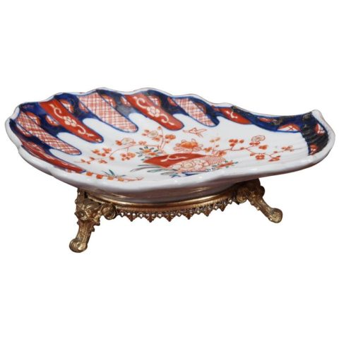 Imari Shell Form Dish with Gilt Bronze Mounts