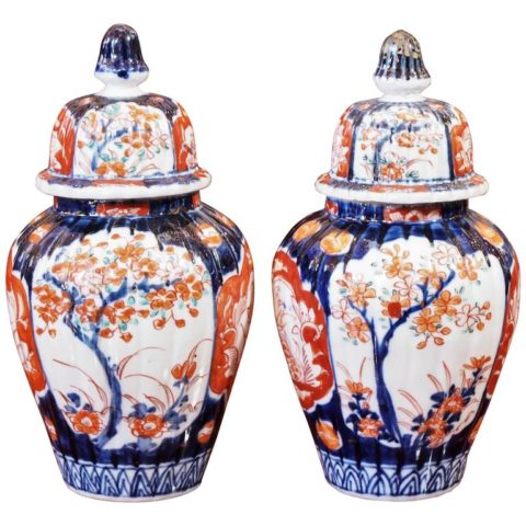 Pair of Small Imari Lidded Ginger Jars