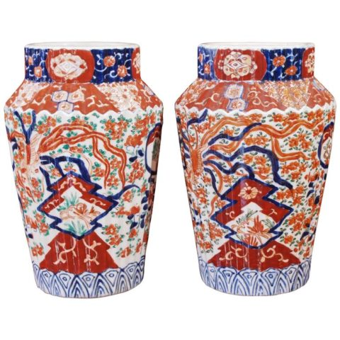 Pair of Ribbed Imari Vases