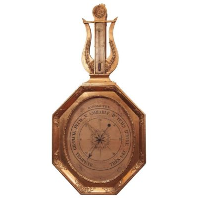 19th Century French Empire Gilt Barometer