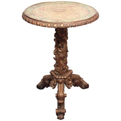 Italian Giltwood and Faux Marble Occasional Table