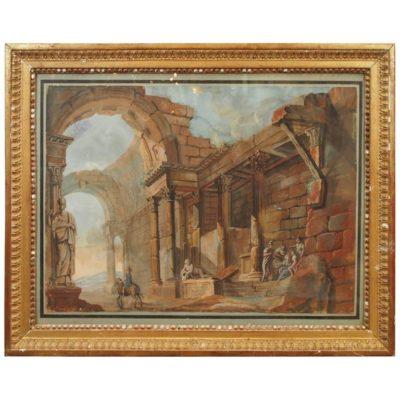19th Century Gouache of Classical Ruins in Gilt Frame
