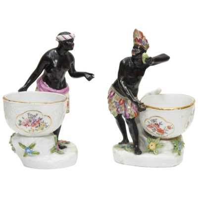English Chelsea Master Salts with Figural Blackamoors