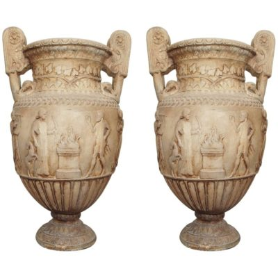 Pair of Large Terra Cotta Blanc Classical Urns