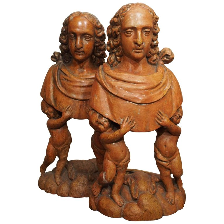 Pair of Carved Wood Italian Figural Reliquaries