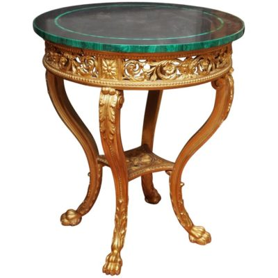 talian 19th Century Giltwood Louis XVI Style Table with Slate and Malachite Top