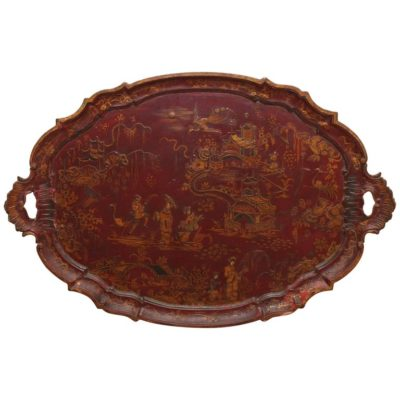 Large Italian Painted Chinoiserie Wooden Tray