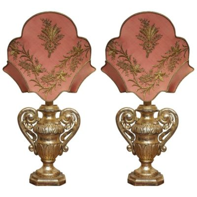 Pair of 19th Century Gilt Italian Urns with 18th Century Gilt Thread