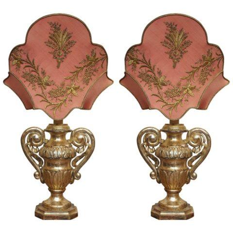 Pair of 19th Century Gilt Italian Urns with 18th Century Gilt Thread