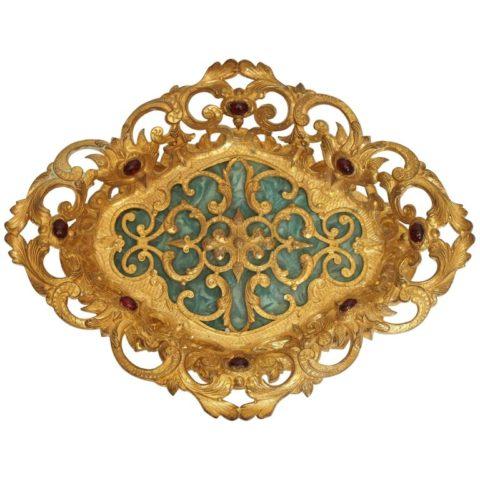 19th Century Italian Gilt Bronze and Jeweled with Malachite Base Tazza