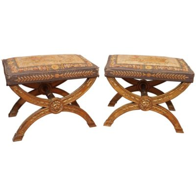 Pair of Signed Gilt Curole Stools with Aubusson Covering