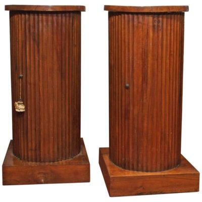 Pair of Italian Walnut Fluted Column Cabinets
