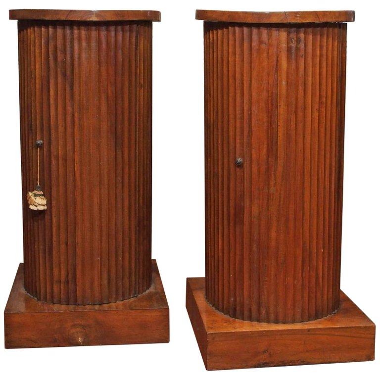 Pair of Italian Walnut Fluted Column Cabinets