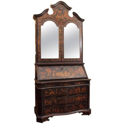 18th Century Venetian Lacquered Secretary Bookcase