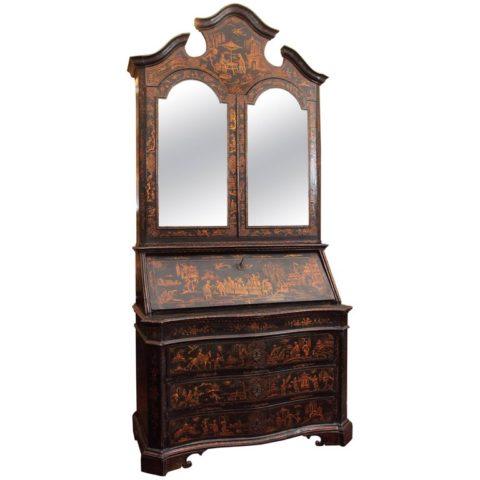 18th Century Venetian Lacquered Secretary Bookcase