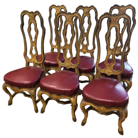 Set of Six Venetian Painted Dining Chairs