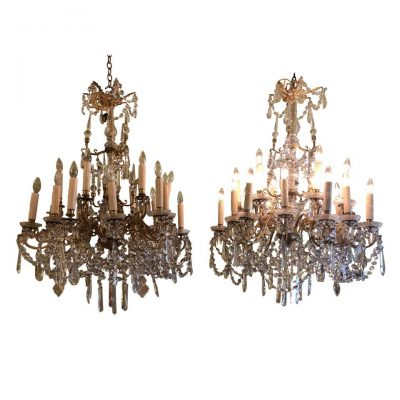 Pair of French Gilt Bronze and Baccarat Crystal Chandeliers
