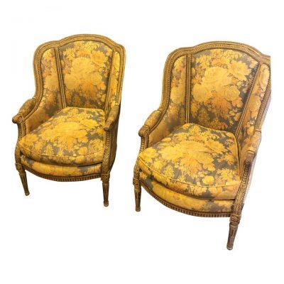 Pair of Louis XVI Style Chaise d'Orrielle