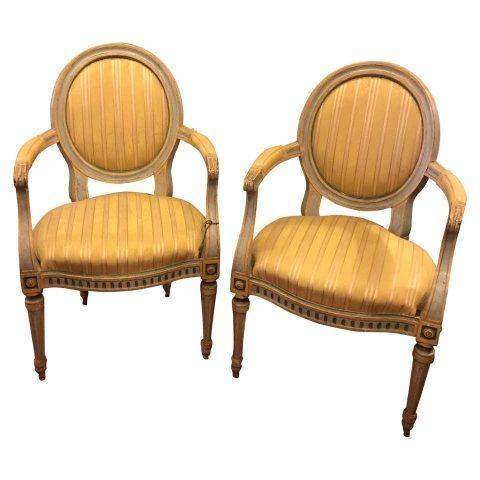 Pair of Italian Louis XVI Oval Back Fauteuils