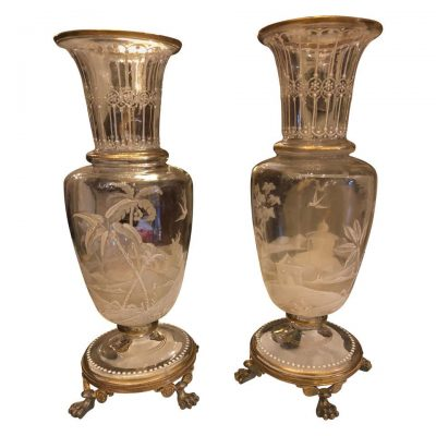 19th Century Pair of Baccarat Vases