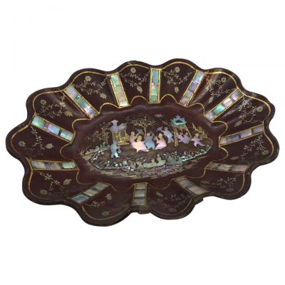 French Papier Mâché Tray with Mother of Pearl Inlay