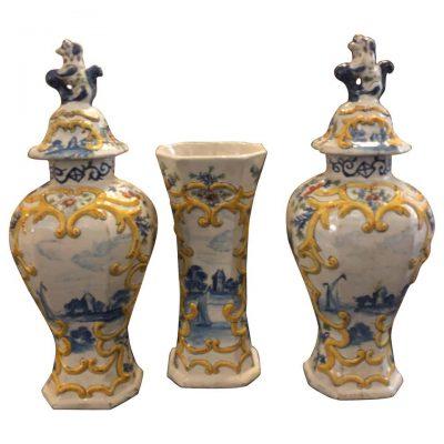 Three-Piece Delft Polychrome Garniture