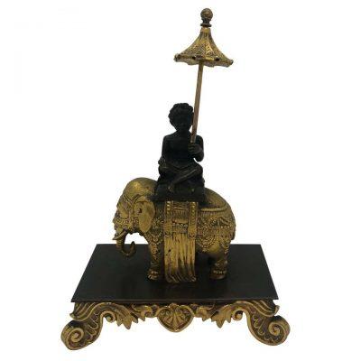 Gilt Bronze of Boy with Umbrella on Elephant