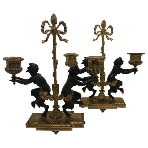 Pair of French 19th Century 2 Arm Gilt/Patinated Bronze Candlesticks