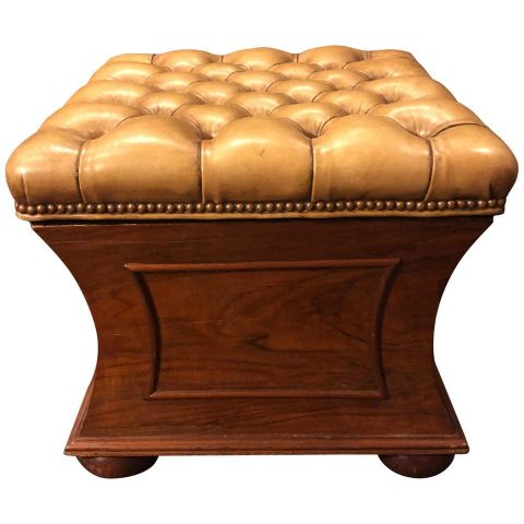 English Regency Concave Stool with Tufted Leather Top