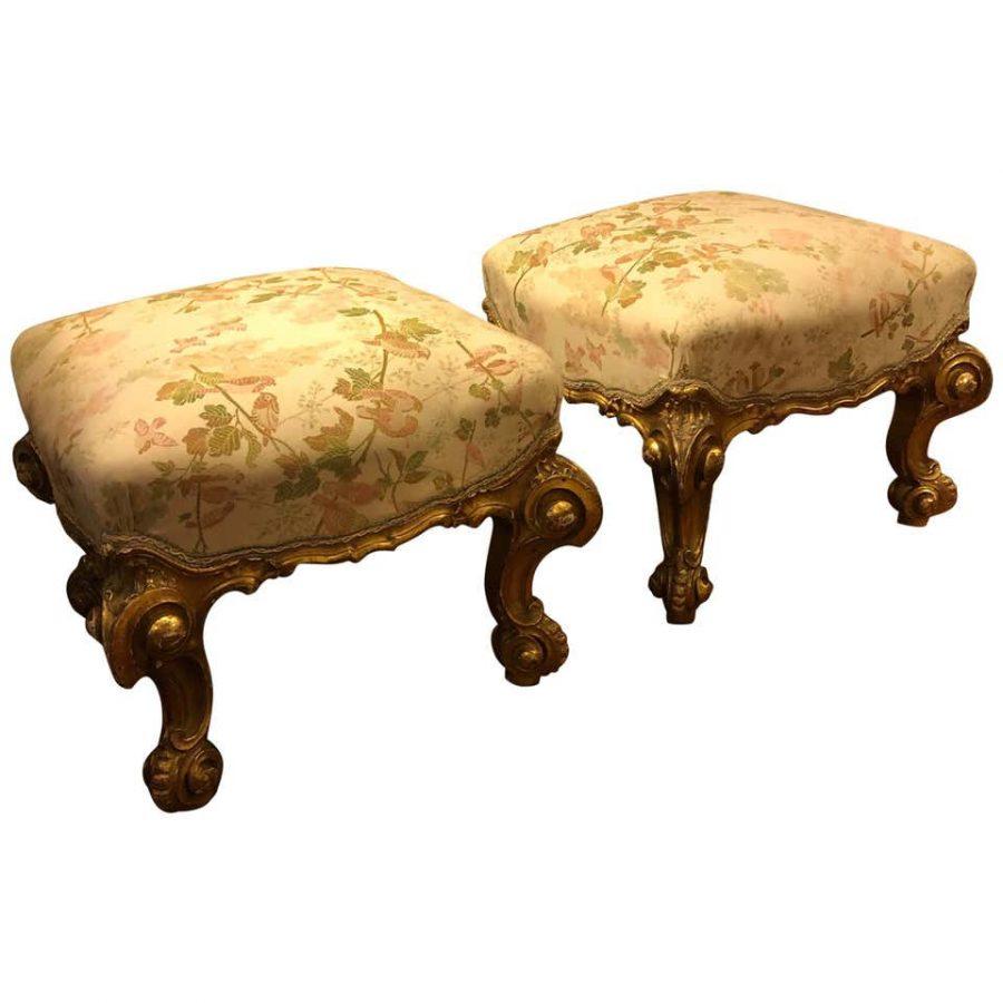 Pair of Louis XV Style Italian Gilt Wood Stools