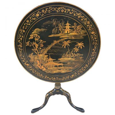 19thc English ebonized and chinoiserie Decorated flip top table