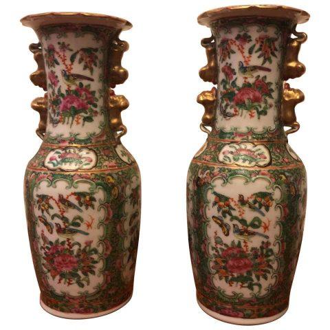 Small Pair of Rose Medallion Vase