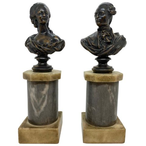 Pair of French Bronze Busts of Louis XVI and Marie Antoinette
