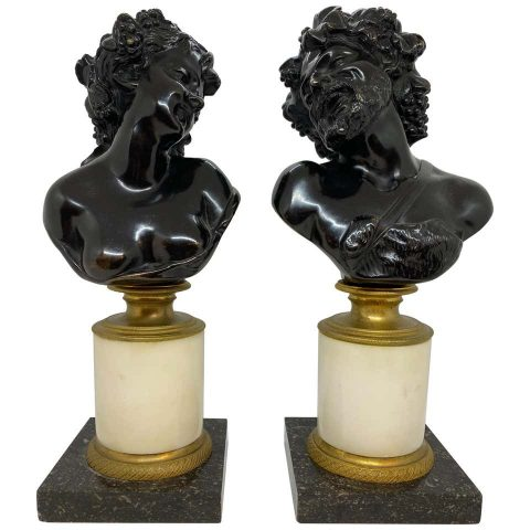 Pair of Continental Patinated Bronze Busts on Marble Plinths
