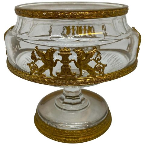 French Crystal Caviar Dish with Gilt Bronze Mounts