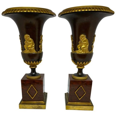 Pair of French Empire Vases Now Wired as Lamps