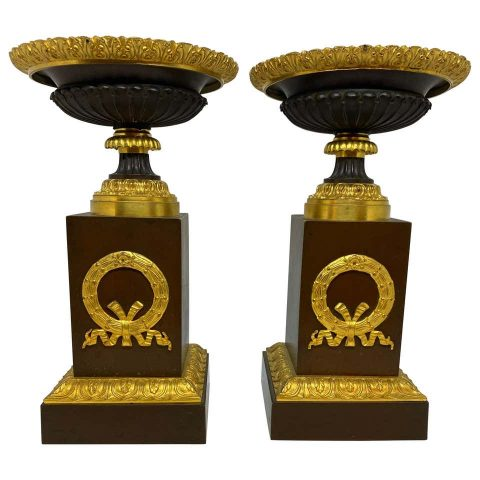 Pair of Charles X Patinated and Gilt Bronze Tazza