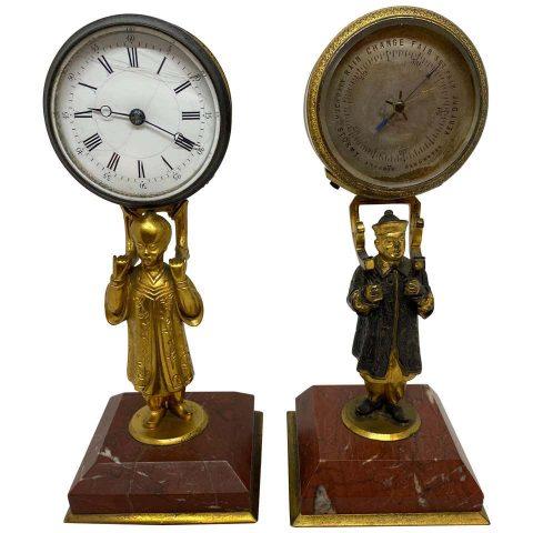 French Gilt Bronze Digital Clock and Barometer