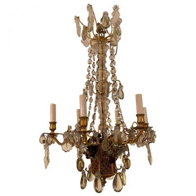 French Gilt Bronze and Crystal Fruit Basket Chandelier, 1940s
