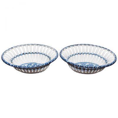 Pair of Blue and White Chestnut Baskets