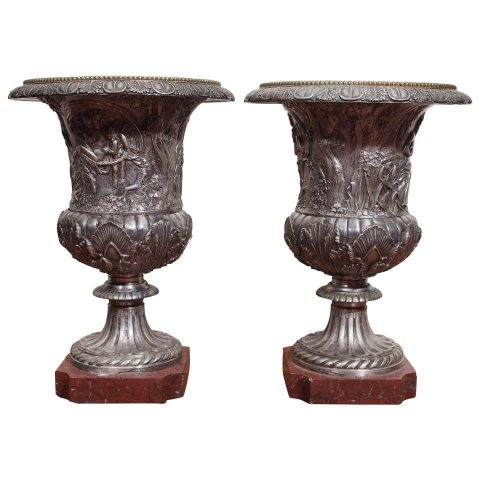 Pair of French Neoclassical Silver over Bronze Urns on Rouge Marble