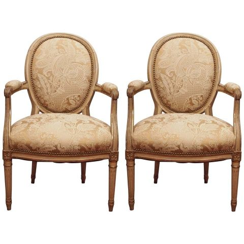Pair of Louis XVI Oval Back Armchairs