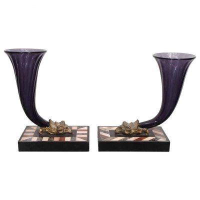 Pair of Amethyst Glass Cornucopia Vases