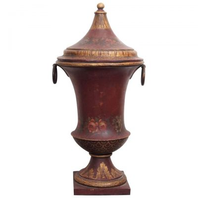French Painted Tole Covered Urn
