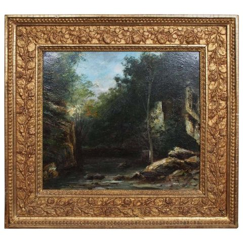 French Barbizon School Oil on Canvas in Period Frame