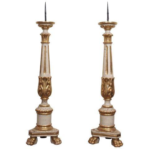 Pair Italian Parcel Gilt Louis XVI Style Altar Candlesticks