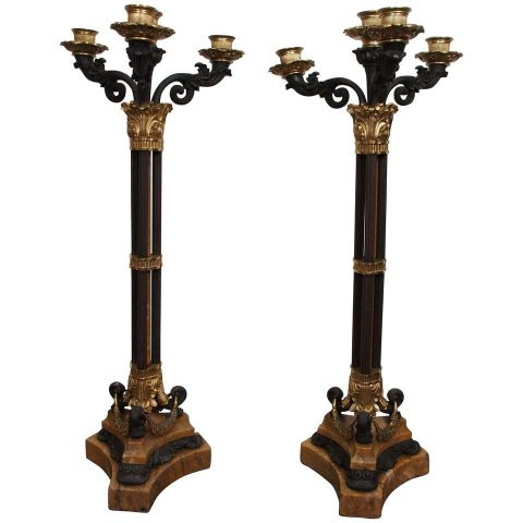 Pair of Bronze and Sienna Marble Charles X Candelabra